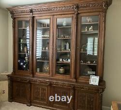 1800s Antique Carved Tiger Oak Bookcase Cabinet German Austrian
