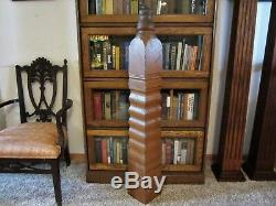 1870 WAVY Tiger Oak Staircase Newel Post Shabby Victorian Primitive Column Stand