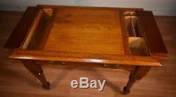 1870s Antique Victorian Tiger oak small writing desk / office desk center table