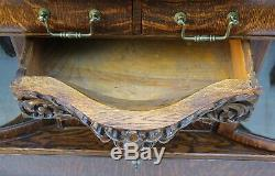 1890's Beautiful Tiger Oak Carved Buffet with Curved Glass Display Door & Mirror