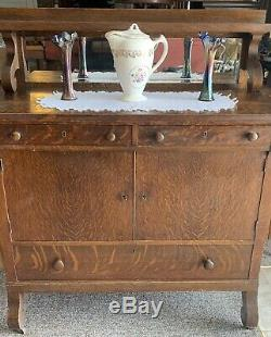 1890s Antique Empire Tiger Oak Buffet/Sideboard withMirror! Beautiful Wood Design