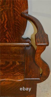 18923 Oak Tiger Sawn Carved Bevel Glass Hall Tree