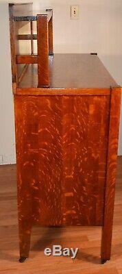 1900s Antique Arts and Craft Mission solid tiger oak server / sideboard