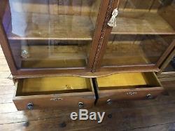 1900s Quarter Sawn Tiger Oak Double Door Bookcase Original Wavy Glass Doors
