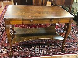 1900s Quarter Sawn Tiger Oak Library Table by The Wolverine Manufacturing Com