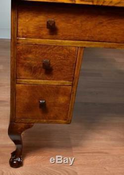 1910s Antique Arts & Crafts Mission Solid Tiger Oak Office desk / writing desk