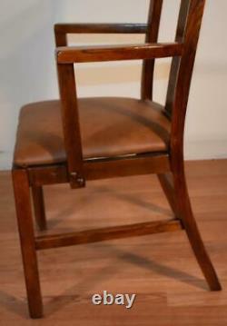 1910s Antique Sheboygan WI Mission Solid Tiger Oak set of 1 arm & 5 side chairs