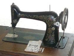 1912 Singer Model 66-1 Red Eye Treadle Sewing Machine & 7 Drawer Tiger Oak Cab