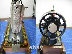 1916 SINGER 66 Red Eye TREADLE Sewing Machine 5 Drawer Tiger Oak Cab WithI Base