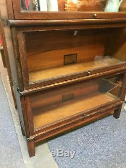 1930s Globe-Wernicke Antique Five-Stack Tiger Oak Barrister Sectional Bookcase