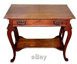 1940s Tiger Oak Single Drawer Library Table
