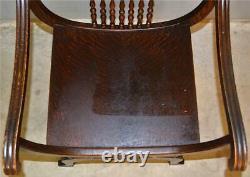19575 Tiger Sawn Oak Barrell Seat Arm Chair Carved