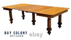 19TH C ANTIQUE VICTORIAN TIGER OAK DINING TABLE With CARVED LEGS 48 X 94