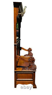 19TH C ANTIQUE VICTORIAN TIGER OAK HALL TREE With LION CARVINGS RJ HORNER