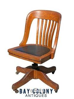 19TH C ANTIQUE VICTORIAN TIGER OAK SWIVEL OFFICE DESK CHAIR With LEATHER SEAT
