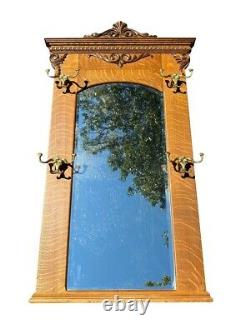 19TH C ANTIQUE VICTORIAN TIGER OAK WALL MIRROR With BRASS COAT HOOKS 32 x 56