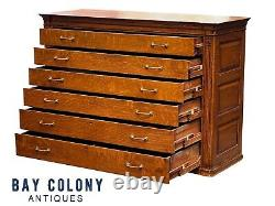 19th C Antique Large Victorian Tiger Oak 6 Drawer Lateral File Cabinet 5+ Feet
