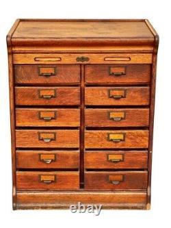 19th C Antique Tiger Oak Globe 12 Drawer Tambour Office File Cabinet