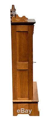 19th C Antique Tiger Oak Single Door Victorian Bookcase Exceptionally Clean