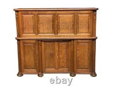 19th C Antique Victorian Cutler Desk Company Tiger Oak S Curve Roll Top Desk