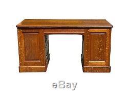 19th C Antique Victorian Double Bank 5 Foot Tiger Oak Office Desk