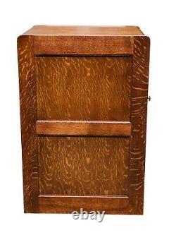 19th C Antique Victorian Tiger Oak Blank Door File Cabinet Rare Format
