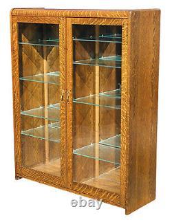 19th C Antique Victorian Tiger Oak Double Door Bookcase / China Cabinet