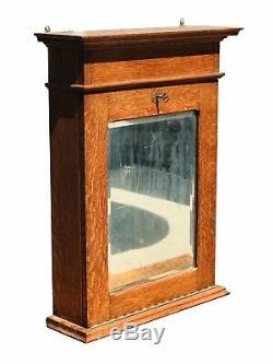 19th C Antique Victorian Tiger Oak Hanging Wall / Medicine Cabinet