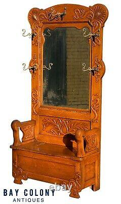 19th C Antique Victorian Tiger Oak Mirrored Hall Tree / Lift Top Bench