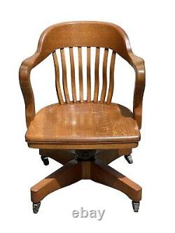 19th C Antique Victorian Tiger Oak Swivel Office / Desk Chair
