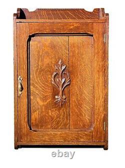 19th C Antique Victorian Tiger Oak Wall Hanging Bathroom Medicine Cabinet