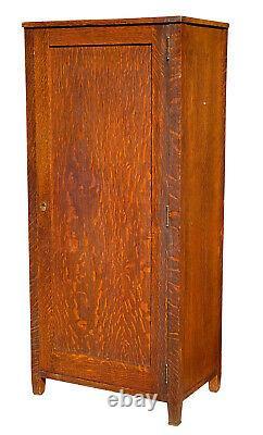 19th C Antique Victorian Tiger Oak Wardrobe / Cabinet