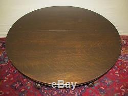 19th C Victorian Tiger Oak Antique Dining Table Talon Leg Carved Base