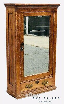 19th C Victorian Tiger Oak Antique Medicine Cabinet