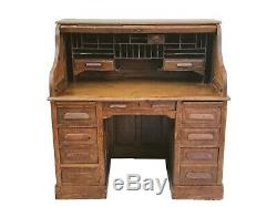 19th C Victorian Tiger Oak S Curve Roll Top Office Desk