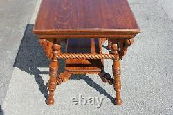 19th Century American Tiger Oak Center Parlor Table