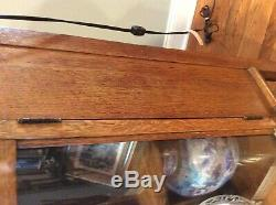 19th Century Antique Larkin Tiger Oak Curved Glass Buffer Server