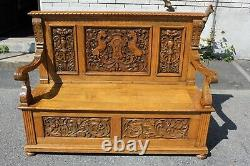 19th Century Victorian Heavily Carved Tiger Oak Hallway Bench