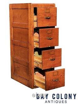 20th C Antique Arts & Crafts Library Bureau 4 Drawer Tiger Oak File Cabinet
