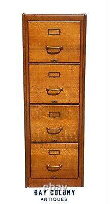 20th C Antique Arts & Crafts Tiger Oak 4 Drawer Letter File Cabinet