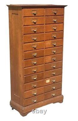 20th C Antique Arts & Crafts Tiger Oak E. H Stafford 24 Drawer File Cabinet