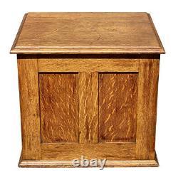 20th C Antique Tiger Oak 4 Drawer Library Bureau Makers Desktop File Cabinet