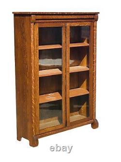 20th C Antique Tiger Oak Double Door Bookcase / Cabinet Blanchard Hamilton