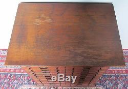 24 Drawer Antique Victorian Solid Tiger Oak Hardware Cabinet / Filing Cabinet