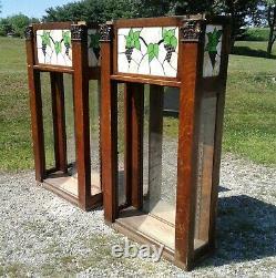2 Antique Tiger Quarter Sawn Oak Cigar Store Back Bar Cabinet Tops Stained Glass