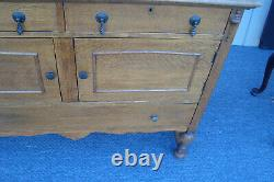 31367 Antique Tiger Oak Buffet Sideboard Server Cabinet with Mirror