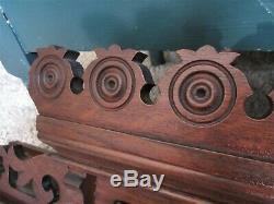 3 Tier Tiger Oak Wall Shelf Eastlake Wood Mantle Victorian Fretwork Clock Holder