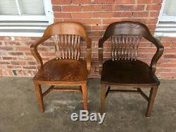 4 Quarter Sawn Tiger Oak Barrel Back Chairs for Lawyer Courthouse Jury or Banker
