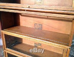 4 Stack BARRISTER BOOKCASE Globe Wernicke with Drawer Solid Tiger Oak 1915 Era
