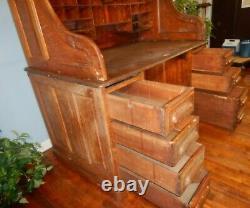 50 S Roll Top Desk w Raised Panels Tiger Oak 30 Cubby Holes Double Pedestal